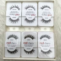 Free shipping 12 pairs Red Cherry 100% Human Hair false eyeLashes wsp dw wispie Beauty fake faux indonisia strip lashes