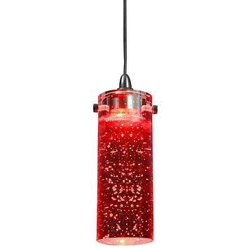 1.2 Watt LED Hanging Ceiling Lamp with Cylindrical Glass Shade, Red By Casagear Home