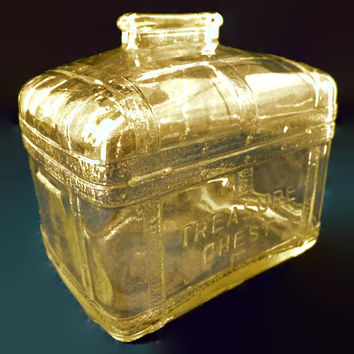 Vintage Glass Coin Bank - Treasure Chest, 1950s Mid Century Retro Piggy Bank, Collectible Clear Glass Bank