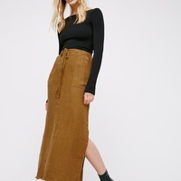 Free People City Streets Linen Maxi Skirt