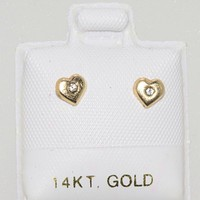 CZ Heart Stud Earrings Screwbacks Yellow 14k Gold - Clear Cubic Zirconia