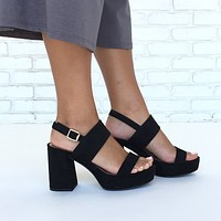Alexis Suede Heels in Black