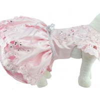Pink & Silver Peau De Soie Dog Dress