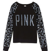 Allover Bling Raglan Crew - PINK - Victoria's Secret