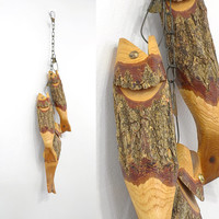 I Caught You A Delicious Bass • Wooden Fish on a Stringer Set of 3 • Vintage Fishing Decor • Fishing Cabin • Carved Wooden Fish • Fisherman