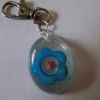 Clear Resin with Blue Flower and Coral Rose Keychain