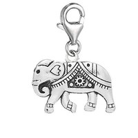 """Clip on """" Circus Elephant """" Dangle Pendant for European Clip on Charm Jewelry w/ Lobster Clasp"""