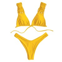 Strappy Macrame High Cut Yellow Bikini Set Women's Push Up Swimsuit 2018 Solid Beach Swimming Suit Cheeky Thong biquini Bathsuit