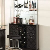 Jacey collection black velvet and chrome accents bar cabinet with glass shelves