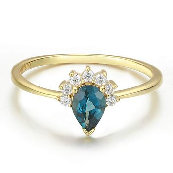 14K Yellow Gold Natural London Blue Topaz Engagement Ring