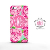 Monogram iPhone 5S Case Beautiful Roses, custom Lilly Pulitzer Inspired monogram iPhone 5C Case, available for iPod Touch 4 iPod 5 case