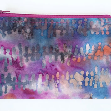 Vibrant Batik Zipper Pouch in Purple, Pink, Grey, & Blue With Lining