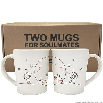Miss Us Together™ His & Hers Couples Matching Coffee Mugs-His and Hers Gifts,Long Distance Love Gifts for Couple,Anniversary Gifts,Valentine's Day Gifts
