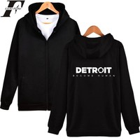 LUCKYFRIDAYF Detroit Become Human Zipper Hot Game Hoodies Sweatshirt Print 2018 Regular Zipper Hoodies Casual Clothes Plus Size