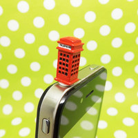 London Style Mini Red Phone Booth Callbox Dust Plug 3.5mm Phone Accessory Charm Headphone Jack Earphone Cap for iPhone 4 4S 5 HTC Samsung
