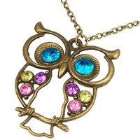 World Pride Vintage Multicolor Rhinestone Crystal Decorated Cute Blue Eyes Baby Owl Pendant Long Chain Necklace:Amazon:Jewelry