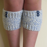 Short Knit Boot Cuffs, Short Leg Warmers. Knitted Boot Cuffs Gray, Cream Blue Boot Socks, Accessory Woman,  Boot Tops, Winter Fashion
