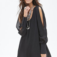 FOREVER 21 Cutout-Sleeved Chiffon Dress Black