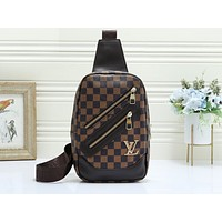 LV fashionable casual lady's Fanny pack hot seller with printed cross-breast bag Coffee lattice