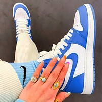 NIKE Air Jordan 1 AJ 11 high-top basketball shoes Blue White