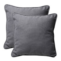 Pillow Perfect 449913 Decorative Gray Textured Solid Toss Pillows Square, Set of Two