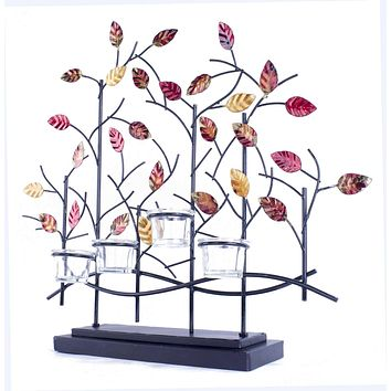 """Votive Candle Holders - 22'.5"""" X 5"""" X 25'.5"""" Copper, Red And Gold Metal Tree Foiled And Lacquered Votive Holder"""