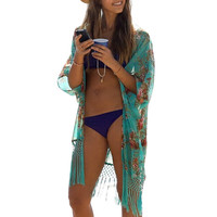 2016 New Sexy Women Ladies Summer Beach Wear Cover Up Loose Floral Print Tassel Bikini Swimsuit Bathing Suit Cover Ups