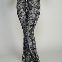 Paisley Rose Striped Soft Bell Bottoms   Wet Seal