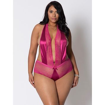 Halter Tie Lace and Satin Teddy Lingerie