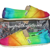 TOMS Tie Dye Shoes - Hot Fashion Staple - Bright colors - hand dyed and custom made by One Great Thing