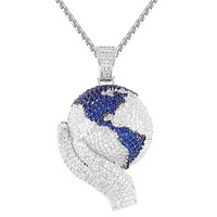 Hands Holding World Globe Map Iced Out Rapper Pendant Chain
