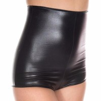 Black Metallic Wet Look Zip Up High Waisted Shorts