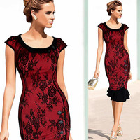 New 2015 Womens Vintage Elegant Formal Lace Button Patchwork Tunic Wear To Work Party Mermaid Midi Pencil Wiggle Bodycon Dress