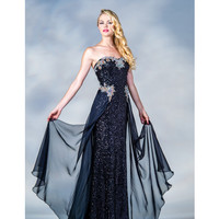 2013 Prom Dresses - Black Sequin & Chiffon Sweetheart Prom Gown