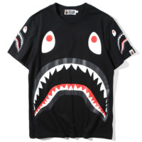Bape Aape Spring & Summer Men's Tide Brand Fish Print Couple Short Sleeve T-Shirt F0234-1 Black