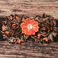 Orange and Tan Leopard Print Shabby Satin Rhinestone Flower and Lace Baby Girl Headband!