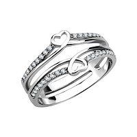 Heart To Heart Forever - Women's Stainless Steel Stacked Mirrored Hearts And Clear CZ Ring
