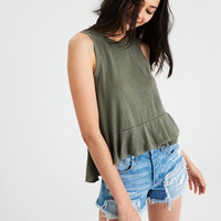 AE HIGH NECK DOUBLE RUFFLE HEM TANK TOP, Olive