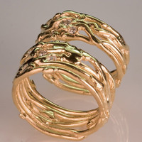 Recycled Gold Wedding Band Set  Women's and by FernandoJewelry