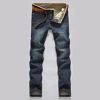 Classic Men Casual Mid-Rise Straight Denim Jeans Long Pants Comfortable Trousers Loose Fit New Brand Menswear man's jeans