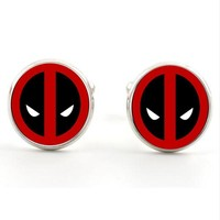 Deadpool Dead pool Taco Men's Jewelry with Silver/Bronze Plated Glass Cabochon  Pattern Cuff links for Men Gift AT_70_6