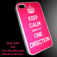Hot Pink Keep Calm Love One Direction iPhone 4/4S or iPhone 5 Case 1D