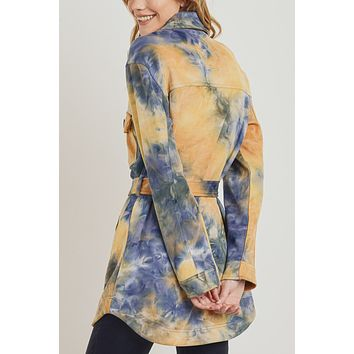 Faux Suede Tie Dyed Belted Long Jacket with Pockets