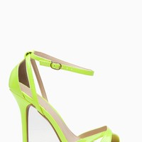 Neon Yellow Faux Patent Leather Ankle Strap Cut Out Single Sole Heels @ Cicihot Heel Shoes online store sales:Stiletto Heel Shoes,High Heel Pumps,Womens High Heel Shoes,Prom Shoes,Summer Shoes,Spring Shoes,Spool Heel,Womens Dress Shoes