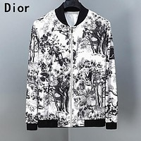 DIOR Newest Fashion Men Women Print Long Sleeve Cardigan Zipper Jacket Coat