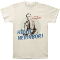 Mr. Roger's Neighborhood Men's  Hello Slim Fit T-shirt Vintage White