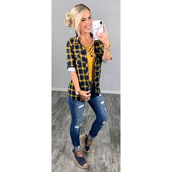 Penny Plaid Flannel 3/4 Top - Mustard/Navy