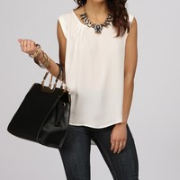 Ivory Zip And Fold Top