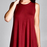 Knit Trapeze Dress - Burgundy
