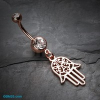 Rose Gold Filigree Hamsa Belly Button Ring